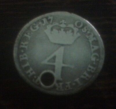 Queen Anne 1708 Old Coin 4 Groat Maundy Fourpence Antique
