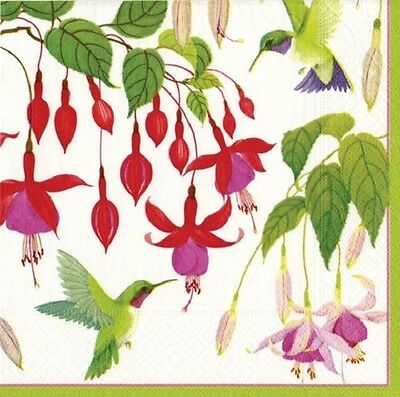 3 Paper Napkins for Decoupage / Tea Parties / Weddings - Humming Birds