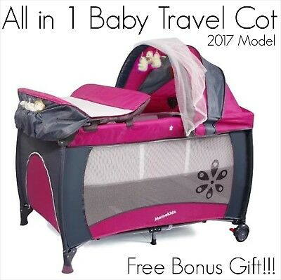 BRAND NEW S12-7 ROSE PINK Baby & Toddler Travel Cot Portable Portacot Playpen