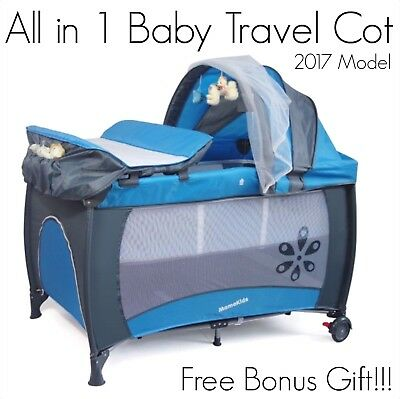 BRAND NEW All in 1 BLUE Baby Travel Portable Portacot Toddler Playpen Bassinet