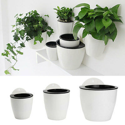 Self-watering Flower Plant Pot Wall Hanging Plastic Planter House Garden Cute