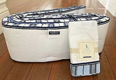 POTTERY BARN KIDS CHASE CRIB SKIRT & CRIB BUMPER Navy Blue STRIPES Nursery NWT