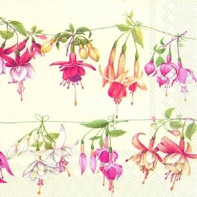 3 Paper Napkins for Decoupage / Parties / Weddings - Vine of Fuchsia