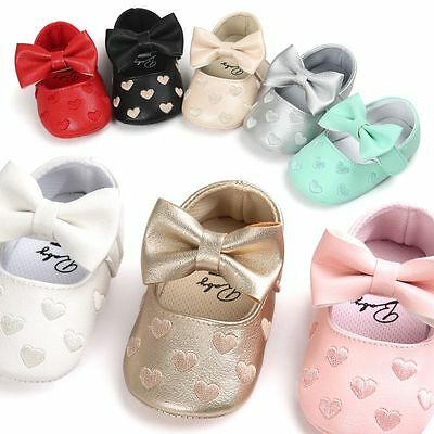 0-18M Baby Soft Sole Leather Shoes Newborn Girl Toddler Prewalker Crib Moccasin