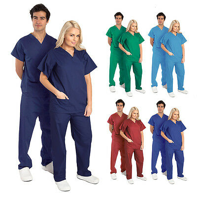 Men Women Nurse Hospital Medical Scrub Uniform - Set/Top/Tunic/Trouser Work Wear