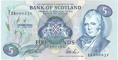 Bank Of Scotland £5 Dated 1990, Prefix Ea, Very Low Numbers, Uncirculated