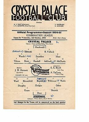 Crystal Palace v Arsenal Reserves Programme 6.10.1954