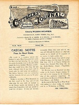 Fulham v Crystal Palace Reserves Football Programme 14.1.1911
