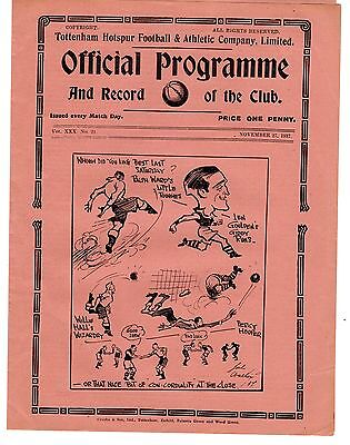 Tottenham v Crystal Palace Reserves Football Programme 27.11.1937