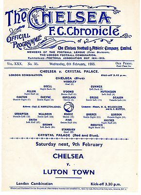 Chelsea v Crystal Palace Reserves Football Programme 6.2.1935