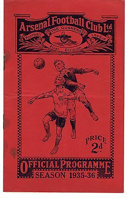 Arsenal v Crystal Palace Reserves Football Programme 19.11.1935