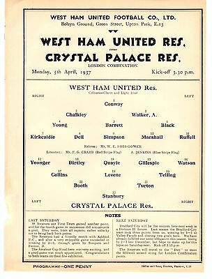 West Ham v Crystal Palace Reserves Football Programme 5.4.1937