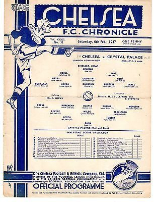 Chelsea v Crystal Palace Reserves Football Programme 6.2.1937