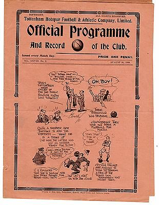 Tottenham v Crystal Palace Reserves Football Programme 31.8.1935