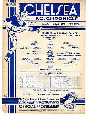 Chelsea v Crystal Palace Reserves Football Programme 1.4.1939