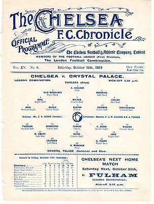 Chelsea v Crystal Palace Reserves Football Programme 18.10.1919