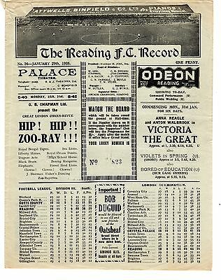Reading v Crystal Palace Reserves Football Programme 29.1.1938