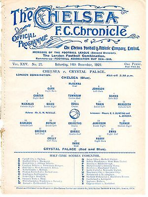 Chelsea v Crystal Palace Reserves Football Programme 14.12.1929