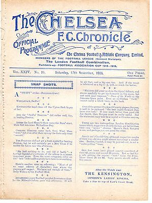 Chelsea v Crystal Palace Reserves Football Programme 17.11.1928