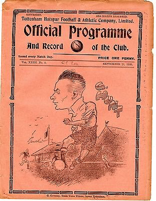 Tottenham v Crystal Palace Reserves Football Programme 20.9.1930