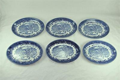 Churchill Currier and Ives Early Winter, 6 Oval Plates 8 inch Long, Blue & White
