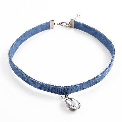 New Charm Woman Vintage Denim Fabric Choker Necklace Cowboy Crystal Collar Gift