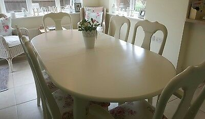 Shabby chic french country dining table and 6 chairs Laura Ashley White & Roses