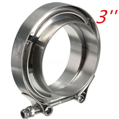 """Universal 3"""" 76mm Inch V-band Clamp Turbo Downpipe Stainless Female Male Flange"""