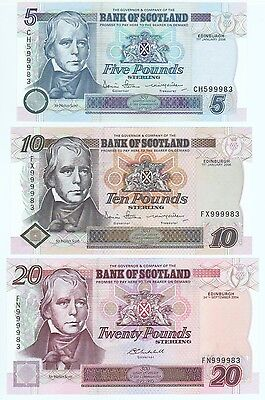 Bank Of Scotland Set Of Three Notes, £5, £10 And £20, Unc Condition.