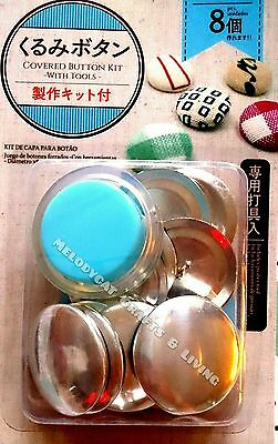 """DIY 38mm (1.5"""") EXTRA LARGE Fabric Covered Button Kit + 8 Buttons + PUSHER TOOL!"""