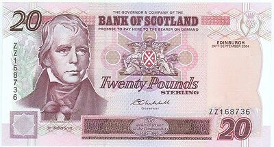 Bank Of Scotland £20 Replacement Note Prefix Zz, Dated 2004, Scarce