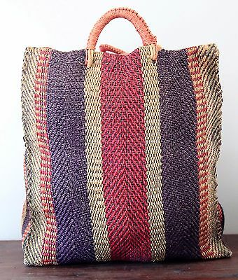 Excellent Condition Large Vintage Hand Woven Straw Tote Bag-Unisex
