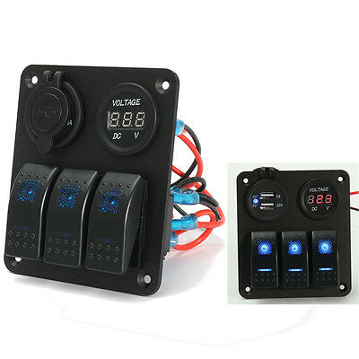 3 Gang Marine Boat LED Rocker Switch Panel Power Charger Socket Voltmeter US