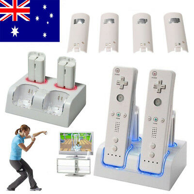 4 Rechargeable Battery And Dock Charger Station for Nintendo WII Remote White AU