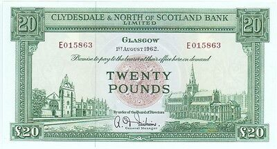 Clydesdale & North Of Scotland Bank £20 Dated 1962 Perfect Unc