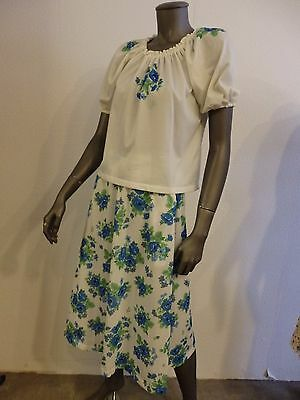 TRUE VINTAGE dress: ROCK & BLUSE Gr. 34 Hippy boho skirt & shirt FLOWERS