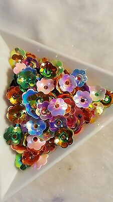 150pcs x 8mm iridescent cupped flower sequins. Mixed colours