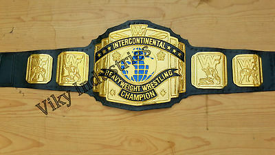 WWF Black Intercontinental Championship Adult Size 4mm Metal Replica Belt