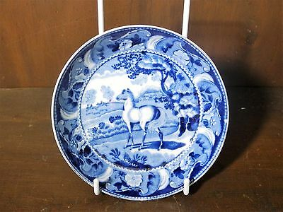 Rare pearlware Tees pottery blue and white transfer printed saucer HORSES C1840