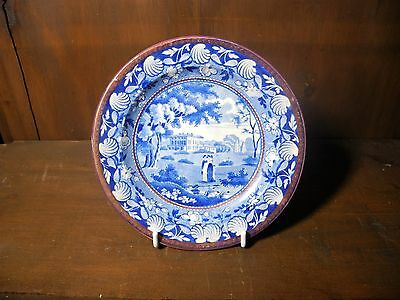 Pearlware Staffordshire blue & white transfer printed copper lustre plate C1830
