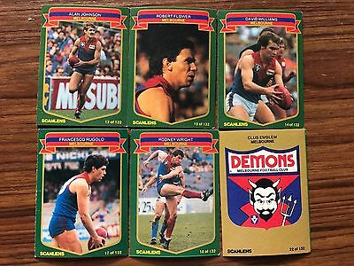 1985 Scanlens Football Cards Melbourne Demons Lot Of 6