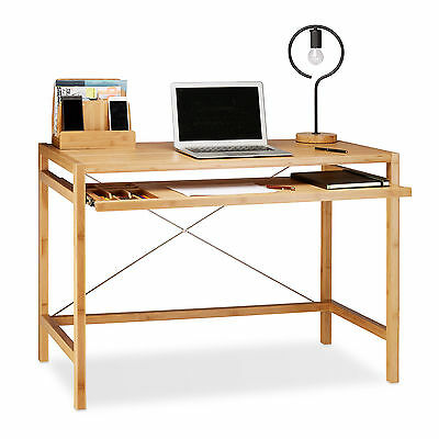 Wooden Computer Desk, Bamboo Office Table, Keyboard Drawer, Modern, PC Stand