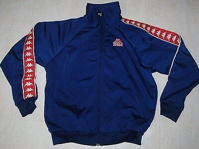 Vintage Kappa Tracksuit Top Track Jacket Shiny Blue Red Ibiza M L