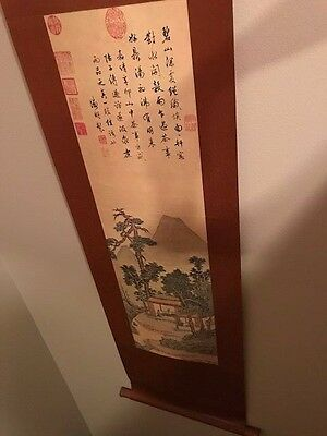 "Vtg 50s 31x12"" Hanging Scroll Japanese Print  Antique Asian Japan"