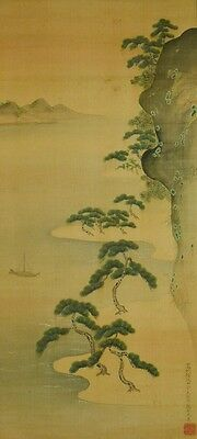 Hanging Scroll Japanese Painting 光貞 土佐 Landscape Asian Art Picture Japan a977