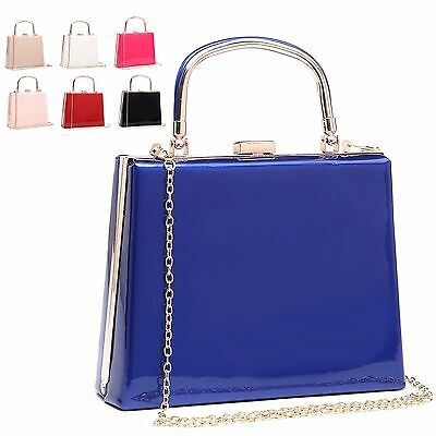 Ladies Designer Patent Top Handle Clutch Bag Party Handbag Evening Bag MA34869