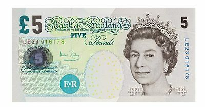 Uncirculated brand new five £5 pound note old style