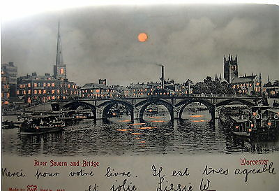 Hold to Light River Severn & Bridge Worcester posted 1903 E220