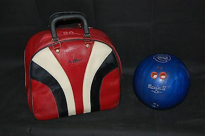 Ebonite Maxim IV Navy 16lb Bowling Ball & AMF Red Ten Pin Bowling Carry Bag