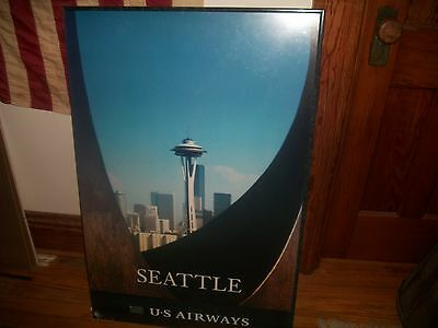 """Vintage Us Airways 36""""x24"""" Seattle Space Needle Airport Poster Unframed Euc"""